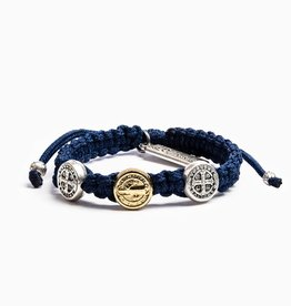 My Saint My Hero - Blessing for Kids Benedictine Blessing Bracelet - Gold & Silver - Navy