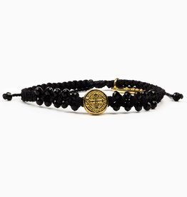 My Saint My Hero - Stairway to Heaven Crystal Benedictine Bracelet - Gold Medal- Black