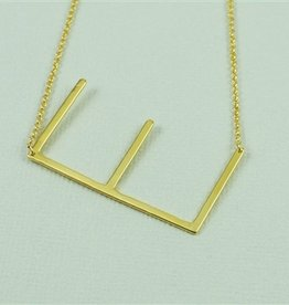 Cool and Interesting - Gold Plated Large Sideways Initial Necklace - E