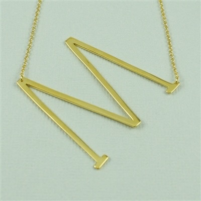 Cool and Interesting - Gold Plated Large Sideways Initial Necklace - M