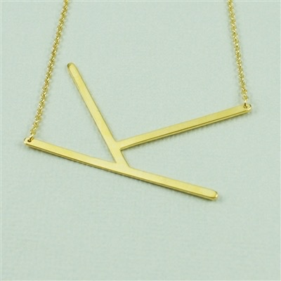 Cool and Interesting - Gold Plated Large Sideways Initial Necklace - K