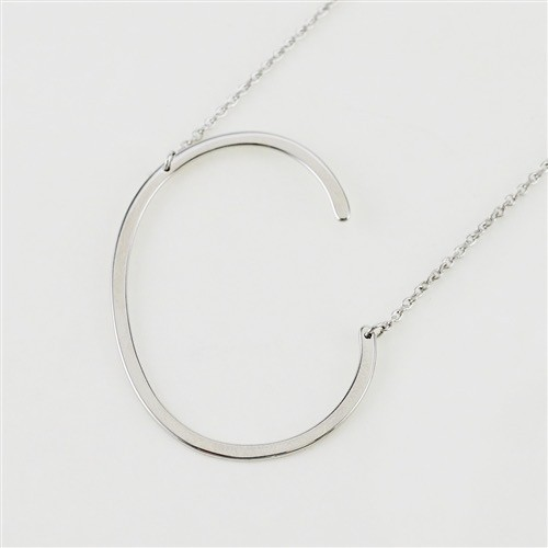 Cool and Interesting - Silver Plated Large Sideways Initial Necklace - C