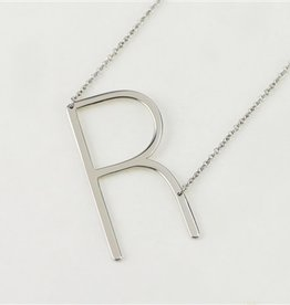 Cool and Interesting - Silver Plated Large Sideways Initial Necklace - R