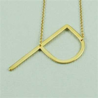 Cool and Interesting - Gold Plated Large Sideways Initial Necklace - P