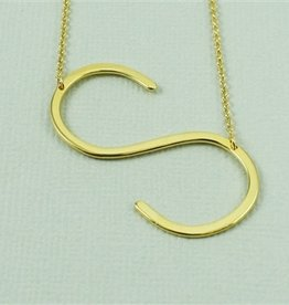 Cool and Interesting - Gold Plated Large Sideways Initial Necklace - S