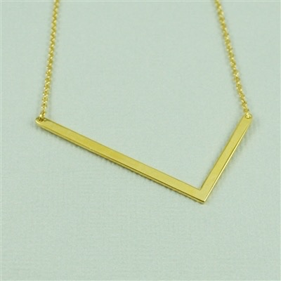 Cool and Interesting - Gold Plated Large Sideways Initial Necklace - L