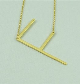 Cool and Interesting - Gold Plated Large Sideways Initial Necklace - F