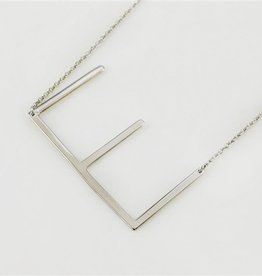 Cool and Interesting - Silver Plated Large Sideways Initial Necklace - E