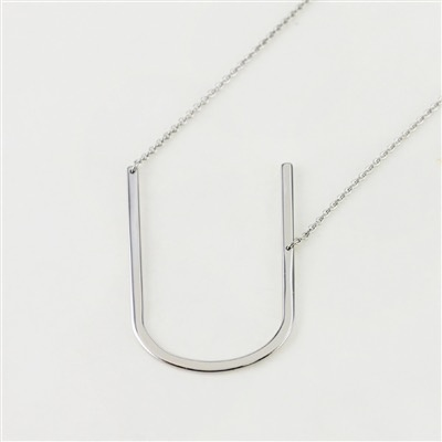 Cool and Interesting - Silver Plated Large Sideways Initial Necklace - U