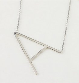 Cool and Interesting - Silver Plated Large Sideways Initial Necklace - A