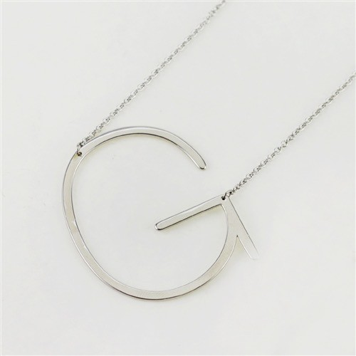 8409653d79ebc5 Cool and Interesting - Silver Plated Large Sideways Initial Necklace - G