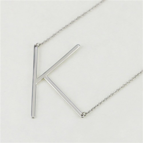 Cool and Interesting - Silver Plated Large Sideways Initial Necklace - K