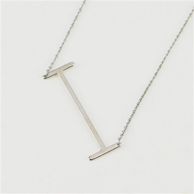 Cool and Interesting - Silver Plated Large Sideways Initial Necklace - I