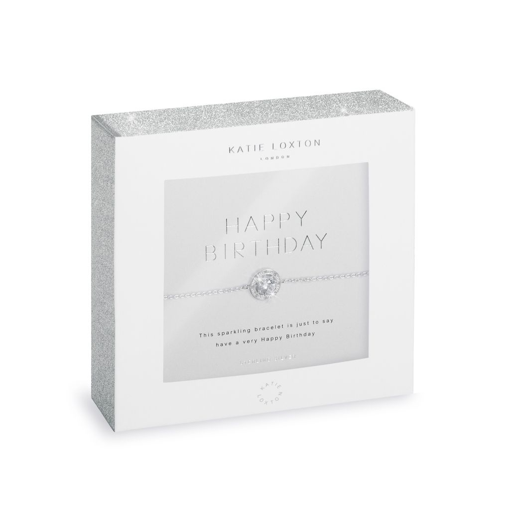 Katie Loxton Happy Birthday Sterling Silver Pave Bracelet
