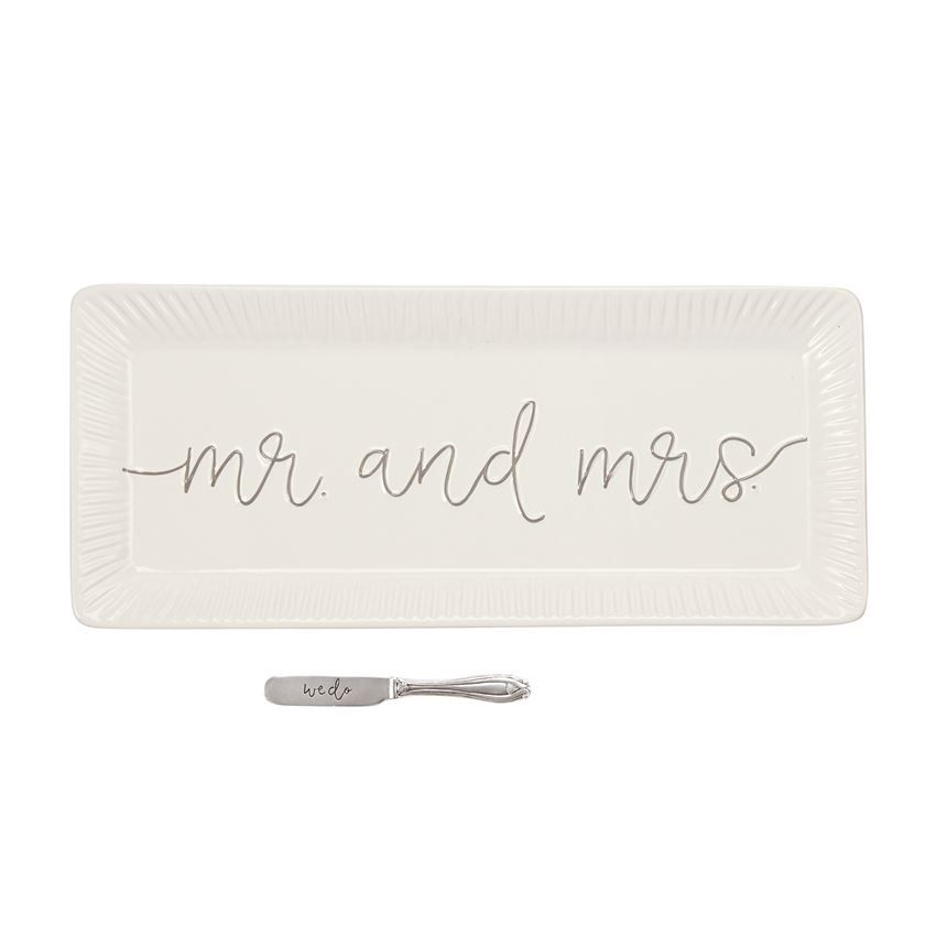 Mud Pie Mr and Mrs Hostess Tray Set