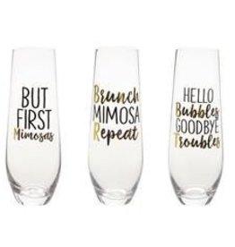 Mud Pie Repeat Champagne Glass