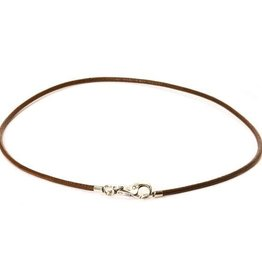 Leather Necklace, Brown, size 42 cm/16.5 in