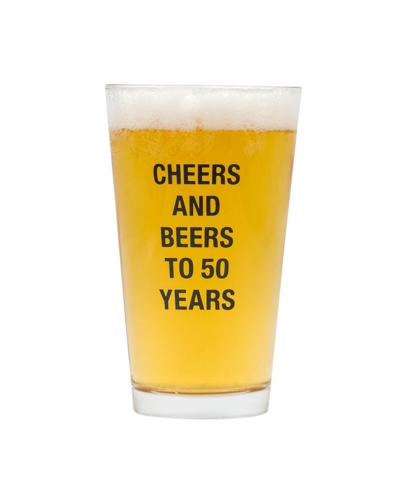 About Face Designs: Beers To 50 Years Pint Glass