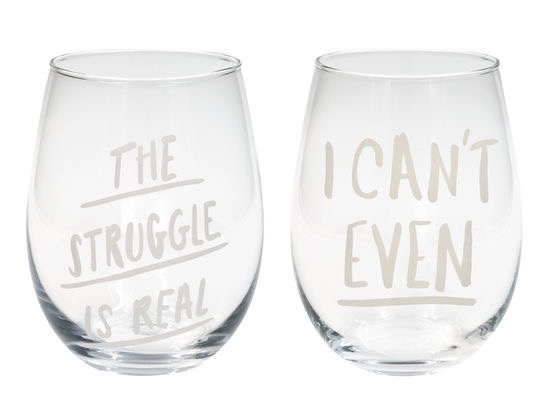 About Face Designs: Can't Struggle Wine Glass