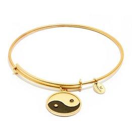Talisman Collection - Yin Yang Expandable Bangle -  Standard Size -Gold