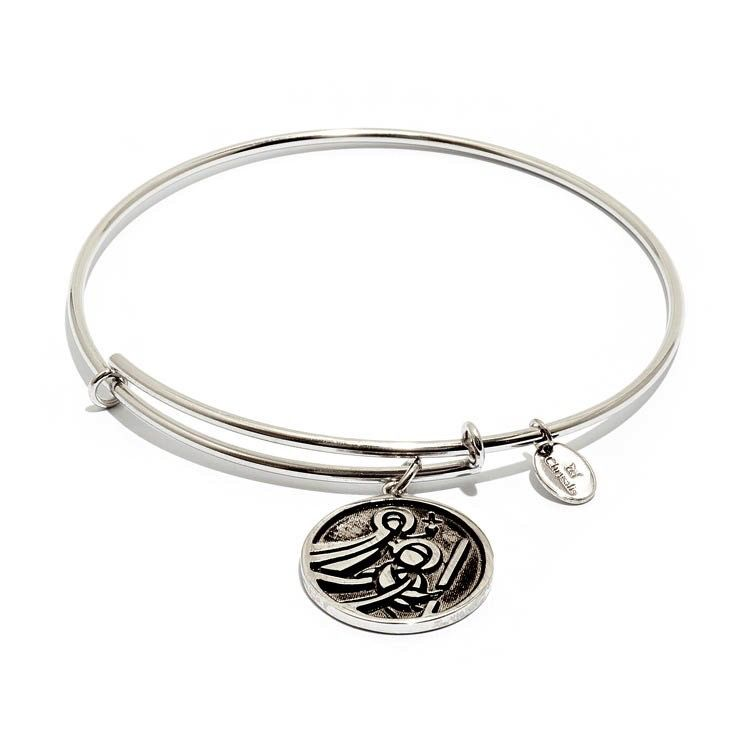 Talisman Collection - St Christopher Expandable Bangle -  Small Size -Silver