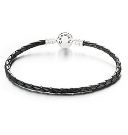 Chamilia Medium Braided Black Leather Bracelet with Round Snap Closure
