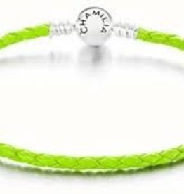 Chamilia Small Braided Green Leather Bracelet with Round Snap Closure