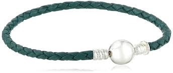 Chamiia Medium Braided Teal Leather Bracelet with Round Snap Closure