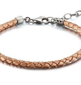 One Size Blush Metallic Braided Leather Bracelet