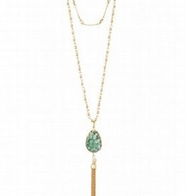 "Spartina 449 Southern State of Mind - Druzy Tassel Necklace 34"" Sea Foam"