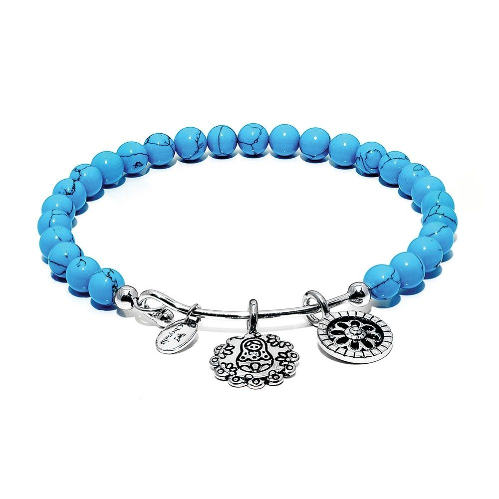 Guardian Turquoise Mother Doll Rhodium Plated Brass - Small Size - Silver