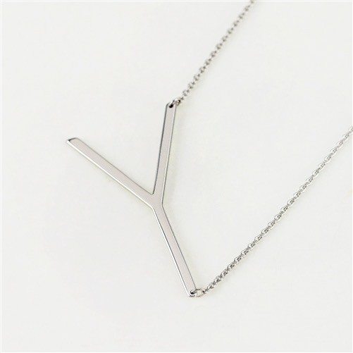 Cool and Interesting - Silver Plated Large Sideways Initial Necklace - Y