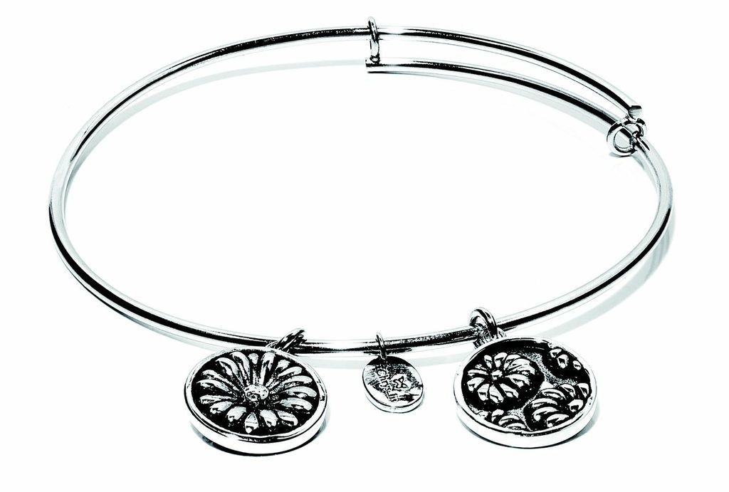 Flourish Collection Expandable Bangle - April Daisy- Small Size - Silver
