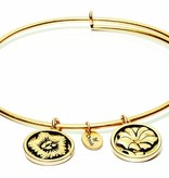 Flourish Collection Expandable Bangle - August Poppy - Small Size - Gold