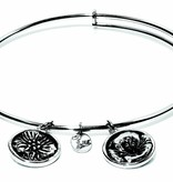 Flourish Collection Expandable Bangle - August Poppy - Small Size - Silver