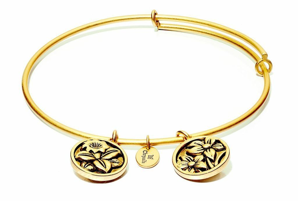 Flourish Collection Expandable Bangle - December Blue Narcissus - Small Size - Gold
