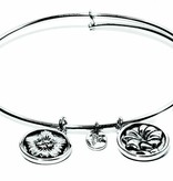 Flourish Collection Expandable Bangle - September Morning Glory - Standard Size - Silver
