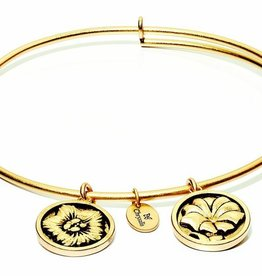 Flourish Collection Expandable Bangle - September Morning Glory - Small Size - Gold