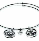 Flourish Collection Expandable Bangle - October Marigold - Standard Size - Silver
