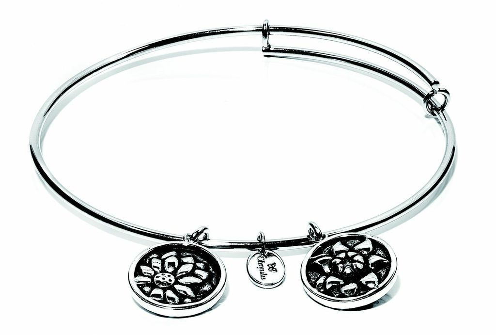 Flourish Collection Expandable Bangle - November Chrysanthemum - Standard Size - Silver