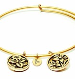 Flourish Collection Expandable Bangle - November Chrysanthemum - Small Size - Gold