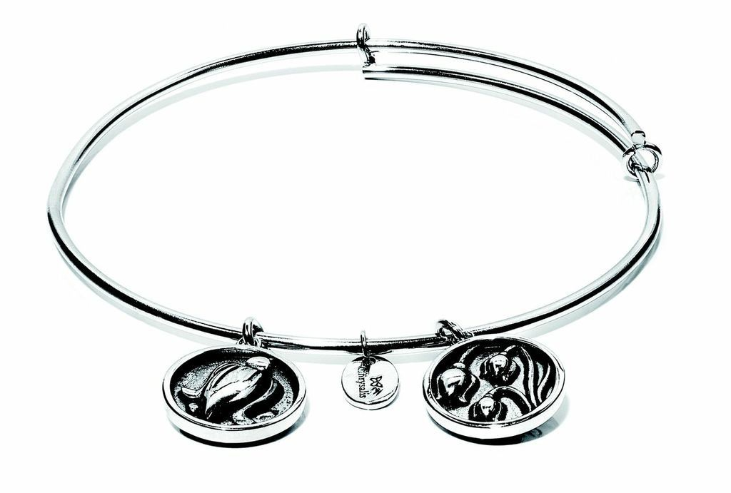 Flourish Collection Expandable Bangle - May Lily of the Valley- Small Size - Silver