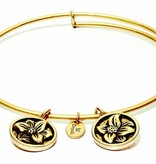 Flourish Collection Expandable Bangle - April Daisy- Small Size - Gold
