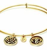 Flourish Collection Expandable Bangle - June Rose- Standard Size - Gold