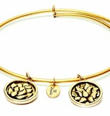 Flourish Collection Expandable Bangle - July Waterlily- Standard Size - Gold