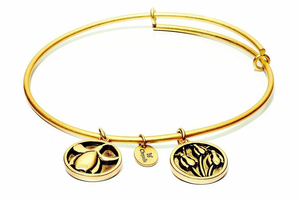 Flourish Collection Expandable Bangle - January Snowdrop- Standard Size - Gold
