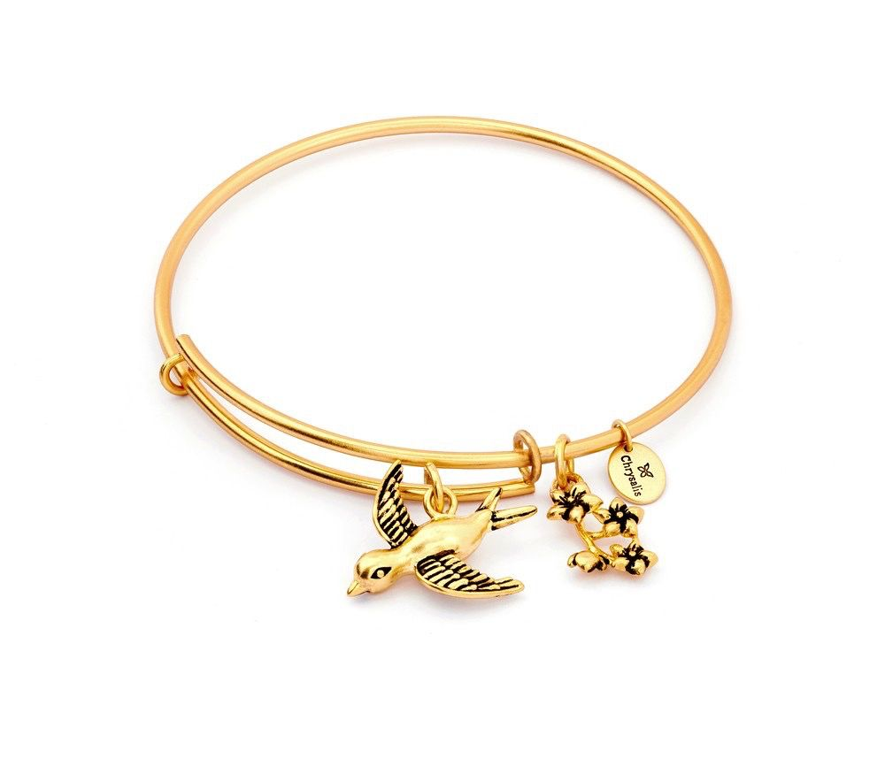 Chrysalis Spirited Sparrow Expandable Bangle- Standard Size: Gold Plated