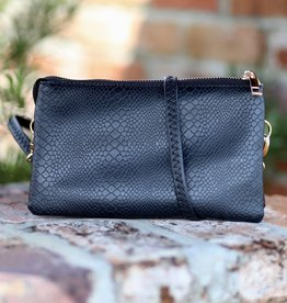 Caroline Hill Liz Custom Crossbody - Snake Small Scale Black