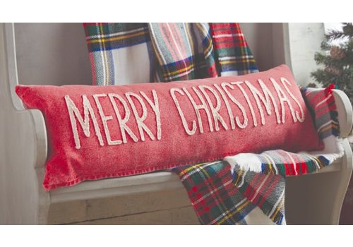 Merry Christmas Washed Canvas Pillow