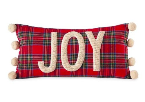 Red Tartan Pom Pom Pillow